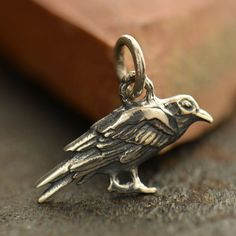 Sterling Silver Raven Charm - C6000 Messenger of God, Baltimore Fans, Bird Charms