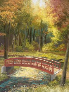 Fall Print featuring the painting Bridge by Lucie Bilodeau