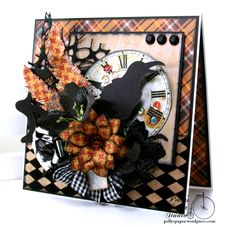 Как вороньи мухи Хэллоуин Приветствие Бумажная студия CArd Polly Handmade 01