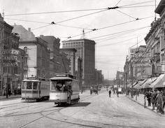 "Detroit circa 1905. ""Woodward Avenue looking north."" The soap-and-theater district"