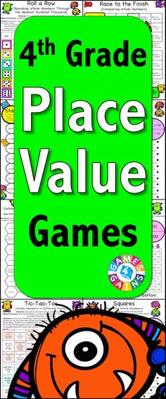 Place Value Games for 4th Grade contains 13 fun and engaging printable board games to help students to practice Common Core standards 4.NBT.A.1, 4.NBT.A.2, and 4.NBT.A.3. These games are so simple to use and require very minimal prep. They are perfect to use in math centers or as extension activities when students complete their work!
