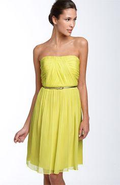 Donna Morgan Belted Chiffon Bridesmaid Dress