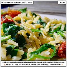 WHOO! Lunch is served! Looking for an excellent Slimming World lunch? This veggie-friendly, super-quick orzo, mint and sundried tomato salad will hit the spot! Cheesy and easy to make in one-pot too! You will love it! Tonnes more Slimming World meals - over 590 at the last count - all sorted by syn and ingredient. Plus: we're pretty funny, apparently. Come and see!