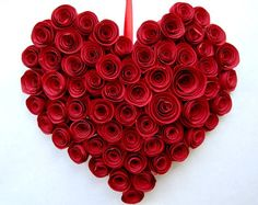 Valentine's Day Red Rose Heart Wall Hanging by frillsandbils, $25.00