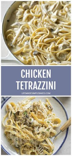 This delicious, from scratch chicken tetrazzini recipe is perfect for a family meal or for feeding a crowd! It's creamy, comforting and ready in just 60 minutes. #chickentetrazzini #tetrazzini #creamychickentetrazzini #creamychickenpasta