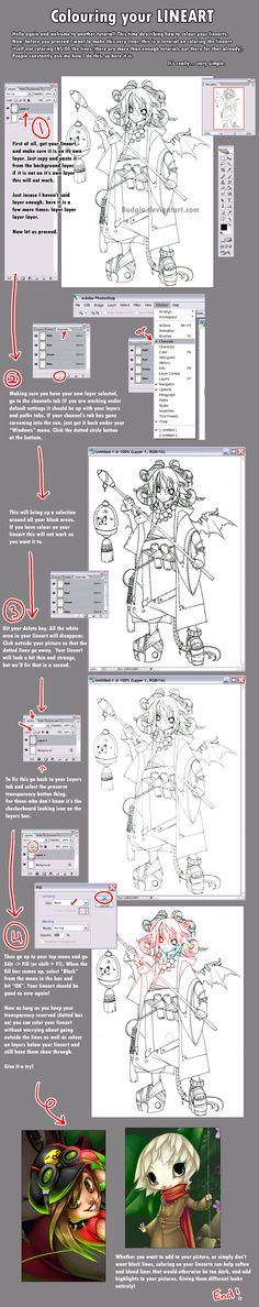 Easy Lineart Colour Tutorial by `sambees on deviantART