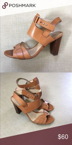 "Via Spiga Heeled Sandals Gorgeous leather sandals with a wood heel. Love these shoes and only wore a handful of times but the 3.5"" heel is just not practical in my life right now! Some discoloration on footbed and minor wear on sole. Via Spiga Shoes Heels"