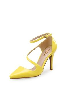 Shop Heels - Yellow Patent Leather Buckle Summer Dress Heel online. Discover unique designers fashion at StyleWe.com.