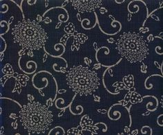 1/2 yard, 18 x 44/45, 100% cotton premium quilting fabric. A traditional Japanese design of Mums and Vines. Indigo background with lighter blue