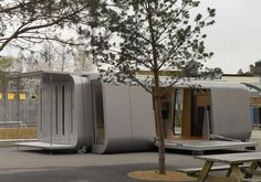 Gollifer Langston Architects - Classroom of the Future - A prototype expandable mobile classroom which is delivered off the back of a standard flat bed lorry. Once in place the capsule extends to create a wide footprint, stage and ramp access. The concept was to develop a flexible ICT rich environment capable of easy transformation to support changing uses. It can be deployed rapidly, safely and cheaply in order to allow movement between locations.