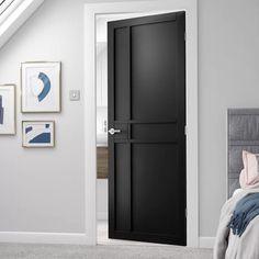 Industrial Interior Doors, Contemporary Interior Doors, Interior Door Styles, Painted Interior Doors, Black Interior Doors, Door Design Interior, Black Doors, Modern Interior, Industrial Style