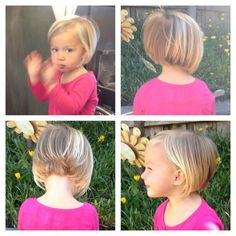 Thin Hair Cuts hair cuts for little girls with thin fine hair Toddler Bob Haircut, Little Girl Bob Haircut, Little Girl Short Haircuts, Toddler Haircuts, Little Girl Hairstyles, Kids Short Hair, Short Girl Hairstyles, Long Hair, Baby Haircut