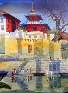 Varanasi Ghat at morning by Bhuwan Silhare on Yellow Acrylic #Canvas #Painting…