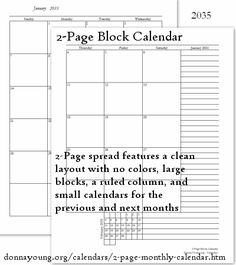 FREE 2-Page Block Calendar at donnayoung.org - calendars