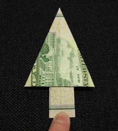 Christmas $$$ Tree Going to do this with niece & nephew's $$$ then put in a gift card holder with their names on them and hide around the house for them to find. - too fun!