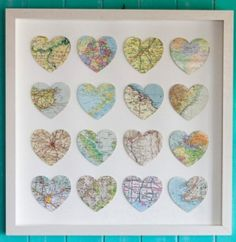 DIY Map Art - Using a heart punch and shadowbox frame - can punch hearts of all the places you & your honey have visited. For grandparents, you could punch hearts for where each of the grandchildren live.