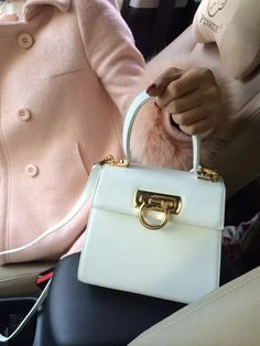 2bd0b87377 Ferragamo Small Calfskin Katia Satchel Top Handle Bag White