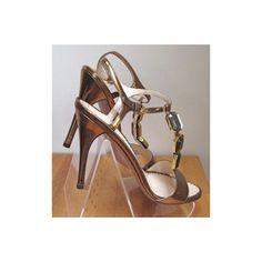PRADA bronze T-strap jeweled, high heel sandals, New $199.99 - sz 38