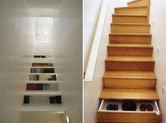 Lijkt me ideaal, schoenenkast in de trap!