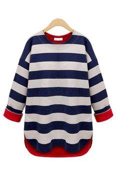An oversized fit navy blue nautical striped round neckline sweatshirt.