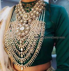Satlada haar, diamond necklace with polki diamonds. Enamel finish embellished around the set. Indian Jewelry Sets, Indian Wedding Jewelry, Royal Jewelry, Bridal Jewelry Sets, Gold Jewelry, Jewellery Box, Diamond Jewellery Indian, Nizam Jewellery, Royal Indian Wedding