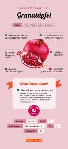 That& why you should eat pomegranate now! - 7 reasons why pomegranate seeds are so healthy - How To Stay Healthy, Healthy Life, Healthy Eating, Nutrition Guide, Diet And Nutrition, Eat Smart, Food Facts, Cooking Tips, Clean Eating