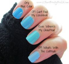 Turquoise Comparison - Orly: Blue Collar, OPI: Can't Find My Czechbook, Essie: Where's My Chauffeur,  OPI: What's with the Cattitude?