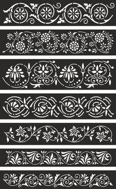 7 Border Panels for Laser Cnc & Plasma and Cricut Floral Wall Cnc Plasma, Wood Panel Walls, Panel Wall Art, Stencil Patterns, Stencil Designs, Laser Cnc, Cd R, Cnc Cutting Design, Fabric Paint Designs