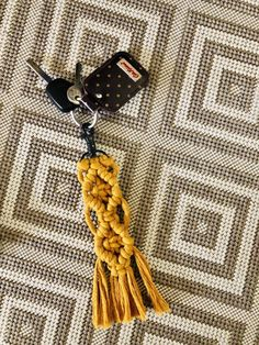 Excited to share this item from my shop: Mustard Macrame Keyring/Bagcharm