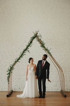 Our minimalist copper arch at One Eleven East!  Bee Lavish / Rentals / Props   Romantic Minimalist Wedding at One Eleven East
