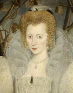 Unknown Lady in a White Ruff (possibly Elizabeth Vernon, Countess of Southmampton aged 23?) c.1595 attributed to George Gower