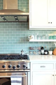 Open shelving kitchen subway tile this is it white cabinets white counters open shelves chrome finish blue subway tile home interior design pictures Kitchen Redo, New Kitchen, Kitchen White, Blue Kitchen Tiles, Kitchen Colors, Kitchen Subway Tiles, Colourful Kitchen Tiles, Kitchen Ideas, Smart Kitchen