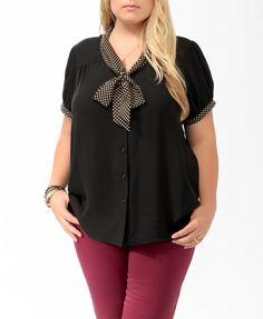 Polka Dot Tie-Neck Shirt   FOREVER21 PLUS - $19.80