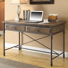 Coast to Coast Imports Executive Writing Desk with 2 Drawer & Reviews | Wayfair