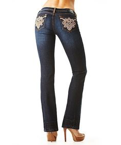 Another great find on #zulily! Dark Blue & Tan Filigree Stitch Pocket Bootcut Jeans by GRACE in LA #zulilyfinds