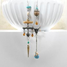 Gemstone Tribal Earrings Citrine Turquoise Earrings Bone