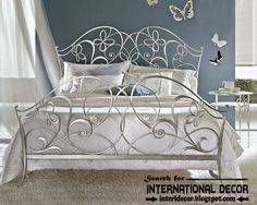 luxurious Italian wrought iron beds and headboards 2015, silver wrought iron bed