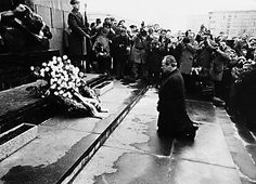 Warschauer Kniefall - gesture of humility and penance by social democratic Chancellor of Germany Willy Brandt towards the victims of the Warsaw Ghetto Uprising - December 7th 1970