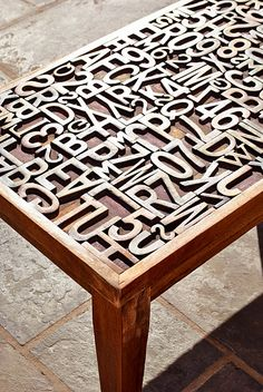 Typography woodblock table