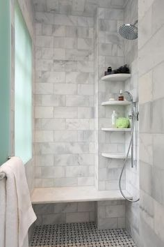 Marble tile shower w