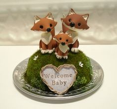 Woodland Foxes Baby Shower Cake Topper  Non by WorkofWhimsy,
