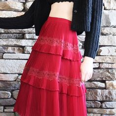Vintage Burgundy Tiered Skirt | Mignon | Shop on Inselly | $25