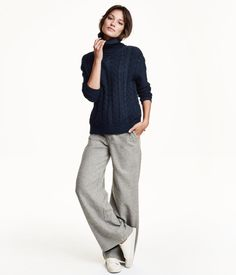 Wide wool-blend trousers | Product Detail | H&M