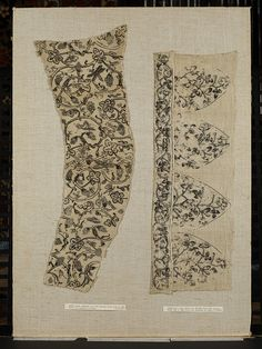 Sleeve panel of a woman's garment, British; linen embroidered in blackwork with vine and grapes, insects in speckling stitch Blackwork Embroidery, Embroidery Patterns, Machine Embroidery, 17th Century Clothing, Historical Clothing, Historical Art, Embroidered Jacket, Victoria And Albert Museum, Models