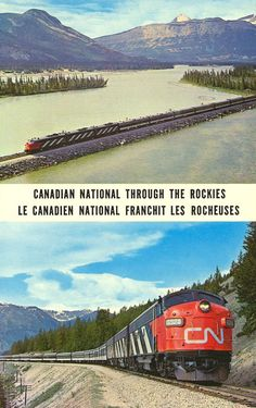 """~ Canadian National Railways """"Super Continental"""" ~ ~ In the heart of the scenic Canadian Rockies ~"""