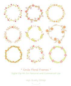 Circle Floral Frames  Digital Clip Art  High Quality by idadrawing, $3.50