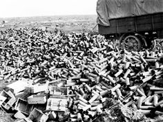 Expended shell cases, Menin Road, 27 September 1917. The  shells were fired by the Australian artillery during the Battle of the Menin Road on 20 September 1917.