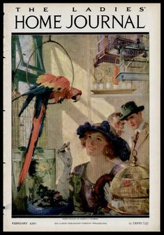 Charles E. Chambers, 'Petshop', The Ladie's Home Journal, february, 1929. The Curtis Publishing Company, Philadelphia. Cover from a painting by Charles E. Chambers. [Parrotphernalia]