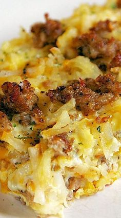 Sausage Hash Brown Breakfast Casserole Recipe - hash browns, sausage, eggs and cheese that can be made ahead of time and refrigerated until ready. #breakfast #recipes #easy #brunch #recipe