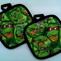 Teenage mutant ninja turtles tmnt pot holders by HauteMessThreads,